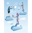 Cloud computing men and woman vector