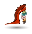 Shoe on a high heel with boxes vector