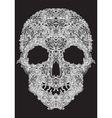 Human skull from floral elements on a black vector