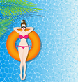 Woman in bikini relaxing on inflatable mattress in vector