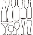 Bottles and glasses set vector