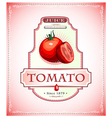 Ripe tomato on a juice or food product label vector
