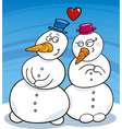 Snowman in love vector