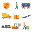Flat delivery icons set modern trendy isolated vector