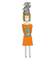 Pretty hand drawn girl with books vector