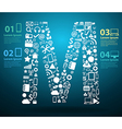 Application icons alphabet letters m design vector