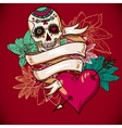 Skull hearts and flowers vector