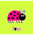 Cutepink lady bug with dots in shape of heart vector