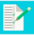 Checklist with pencil in flat style vector