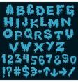 Blue font smudges alphabet splashing vector