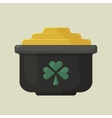 Stylized shiny cartoon pot of gold with a green vector