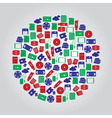 Data storage media icons in color circle eps10 vector