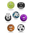 Smiling sport equipments cartoon characters vector