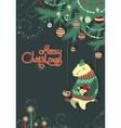Greeting cardbear and bird under the christmas vector