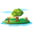 An island with three playful rabbits vector
