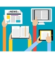 Business hands reading concept vector