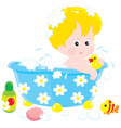 Child bathing with toys vector