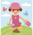 Little girl gardening vector