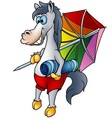 Horse and beach umbrella vector