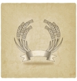 Sheaf of wheat with ribbon old background vector