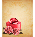 Retro background with beautiful red roses and gift vector