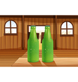 Two green bottles above the table vector