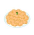 A dish of mini thai curry puffs vector