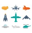 Aircraft icons flat vector