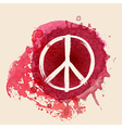 Peace sign brush stroke on red ink splat vector