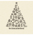 Holiday greeting card with fir tree vector