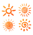 Hand drawn sun icons vector
