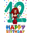 Twelfth birthday cartoon design vector
