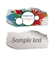 Colorful and blank ripped paper pieces vector