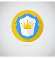 Flat icon with golden crown vector