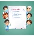 Doctors presenting white board vector