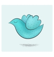 Cute hand drawn flying blue bird vector