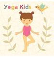 Cute yoga kids card with little girl doing yoga vector
