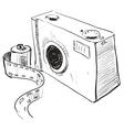 Analogue photo camera icon vector