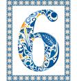 Blue number 6 vector