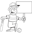 Cartoon boy leaning on a baseball bat holding a si vector