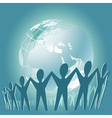 Community of people joined around the globe vector