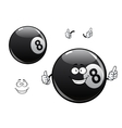 Cartoon billiards snooker pool eight ball vector