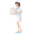 A nurse holding a vacant chart vector