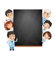 Doctors presenting empty blackboard vector