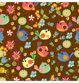 Seamless cartoon background with color birds vector