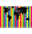 Colorful background with world map and time zones vector