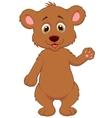 Cute baby bear cartoon waving hand vector