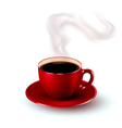 Perfect red cup of coffee with steam vector