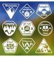 Outdoors tourism camping flat emblems set vector