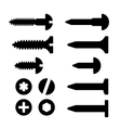 Screws nuts and nails icons set vector